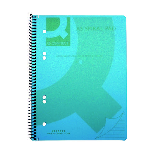 Q-Connect Spiral Bound Polypropylene Notebook 160 Pages A5 Blue (Pack of 5) KF10034