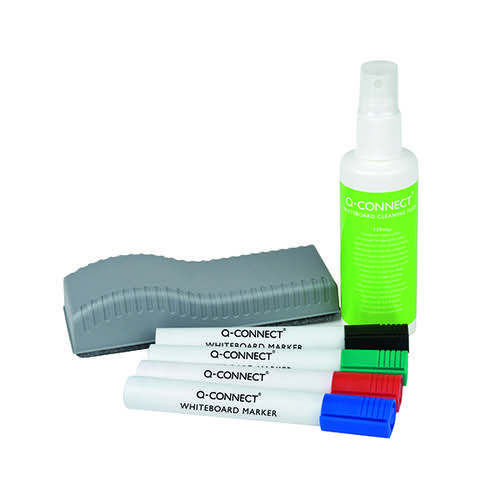 Q-Connect Economy Whiteboard Starter Kit (Includes pens, cleaning fluid and wiper) KF10690