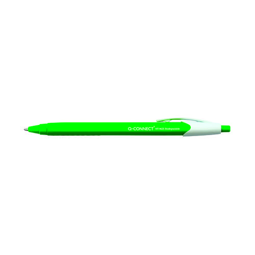 Q-Connect Biodegradable Ball Point Pen Rtract Blu (Pack of 12) KF15625