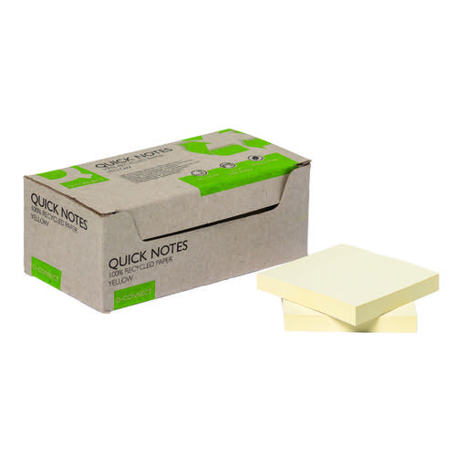 Q-Connect Recycled Notes 76x76mm Yellow (Pack of 12) KF17321