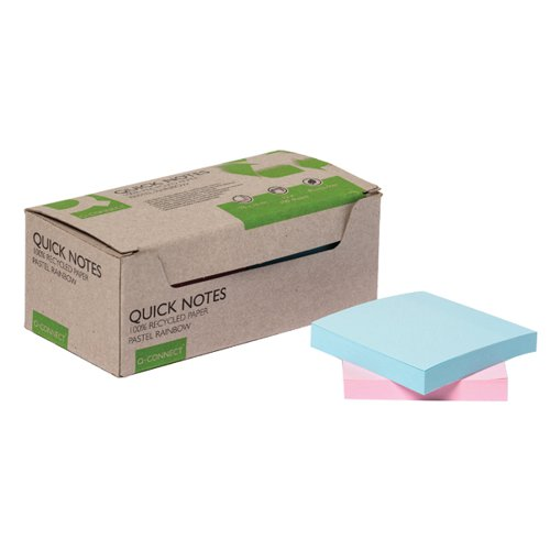 Q-Connect Recycled Notes 76x76mm Pastel Rainbow (Pack of 12) KF17324