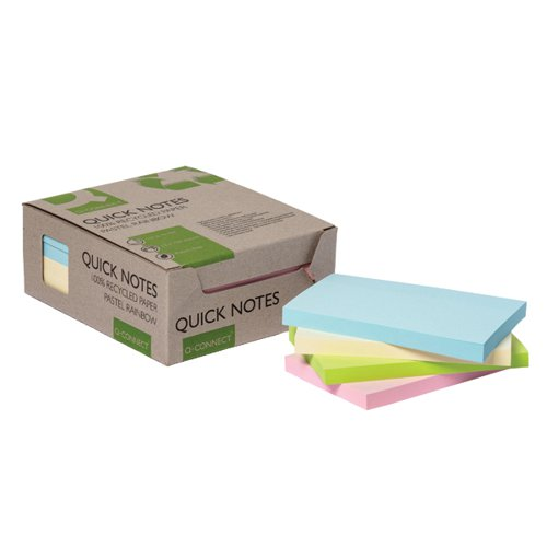 Q-Connect Recycled Notes 127x76mm Pastel Rainbow (Pack of 12) KF17325