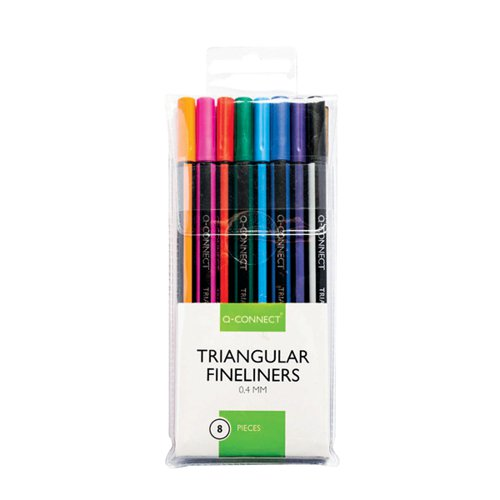 Q-Connect Triangular Fineliners Assorted Colour (Pack of 8) KF18050