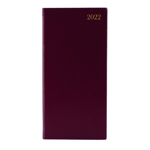 Slim Desk Diary Portrait Week To View Burgundy 2022 KF1BG22