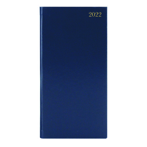 Slim Desk Diary Portrait Week To View Blue 2022 KF1BU22
