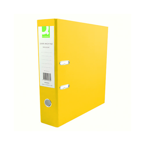 Q-Connect 70mm Lever Arch File Polypropylene A4 Yellow (Pack of 10) KF20023
