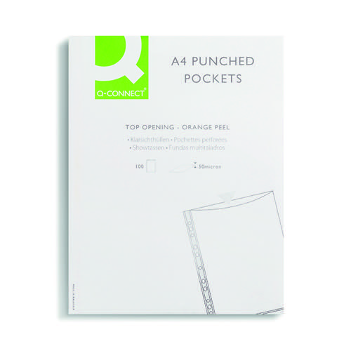 Q-Connect Punched Pocket Top-opening 50 Micron A4 Clear Embossed [Pack 100]