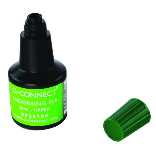 Q-Connect Endorsing Ink 28ml Green (Pack of 10) KF25104Q