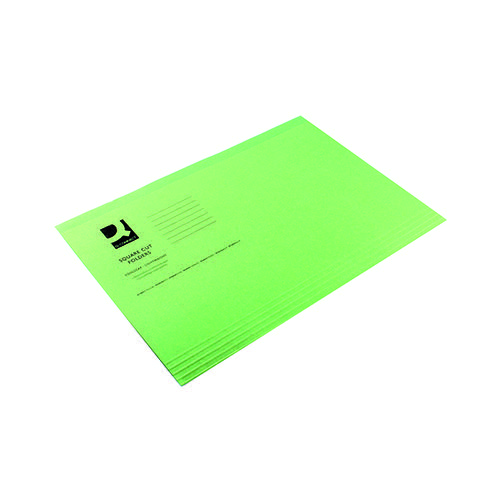 Q-Connect Square Cut Folder Lightweight 180gsm Foolscap Green (Pack of 100) KF26031