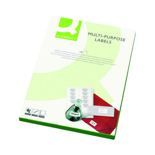 Q-Connect Multipurpose Labels 199.6x143.5mm 2 Per Sheet White (Pack of 200) KF26056 - VOW - KF26056 - McArdle Computer & Office Supplies
