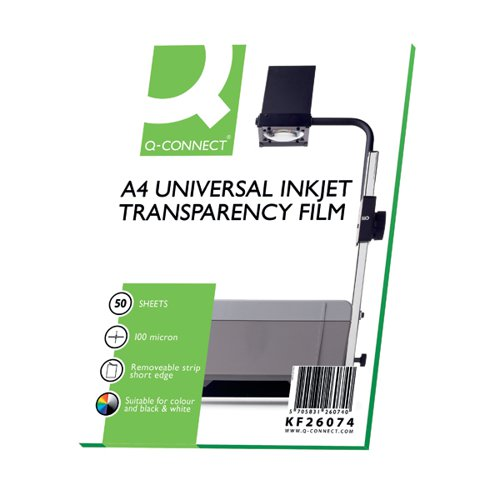 Q-Connect Inkjet Over Head Projector Film (Pack of 50) KF26074