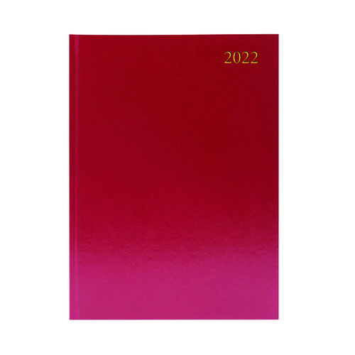 Desk Diary 2 Days Per Page A4 Burgundy 2022 KFA42BG22