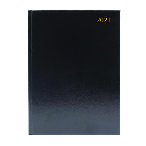 Desk Diary 2 Pages Per Day A4 Black 2021 KF2A4BK21
