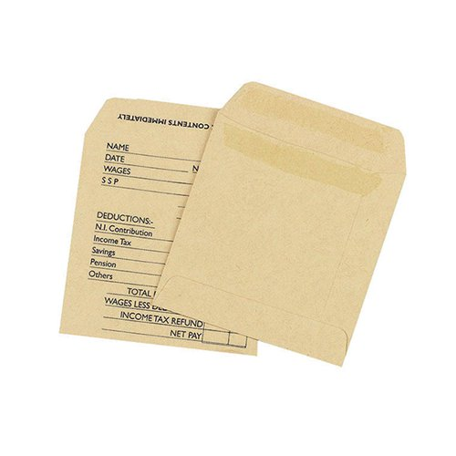 Q-Connect Envelope Wage 108x102mm Printed Self Seal 90gsm Manilla (Pack of 1000) KF3430