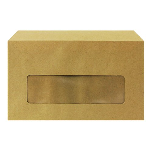 Q-Connect Envelope 89x152mm Pocket Centre Window Gummed 70gsm Manilla (Pack of 1000) KF3431