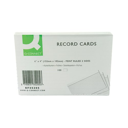 Q-Connect Record Card 152x102mm Ruled Feint White (Pack of 100) KF35205