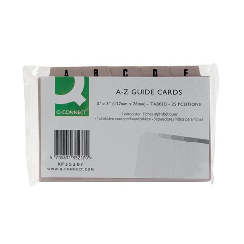 Q-Connect Guide Card 5x3 Inch A-Z Buff (Pack of 25) KF35207