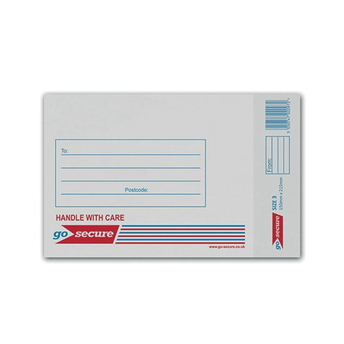 GoSecure Bubble Lined Envelope Size 3 170x210mm White (Pack of 100) KF71448