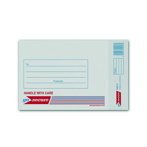 GoSecure Bubble Envelope Size 3 140x195mm White (Pack of 100) KF71448