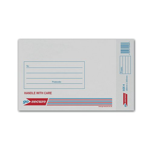 GoSecure Bubble Envelope Size 4 170x245mm White (Pack of 100) KF71449