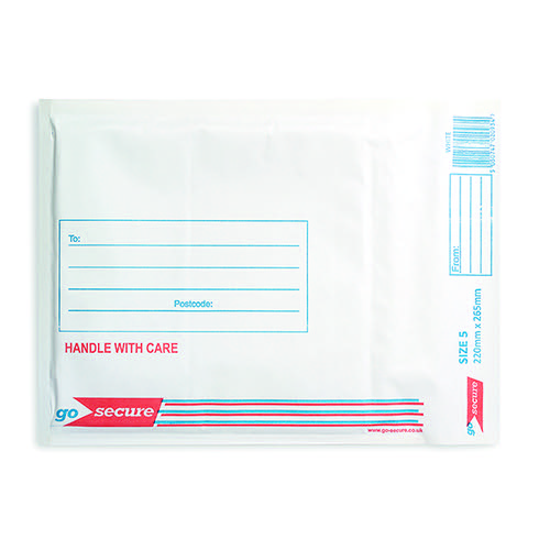 GoSecure Bubble Lined Envelope Size 5 220x265mm White (Pack of 100) KF71450