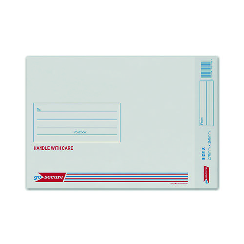 GoSecure Bubble Envelope Size 8 260x345mm White (Pack of 50) KF71454