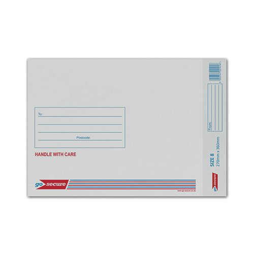 GoSecure Bubble Lined Envelope Size 8 270x360mm White (Pack of 50) KF71454