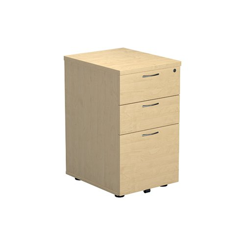 Jemini Maple 3 Drawer Under Desk Pedestal (Dimensions: W434 x D580 x H690mm) KF72089