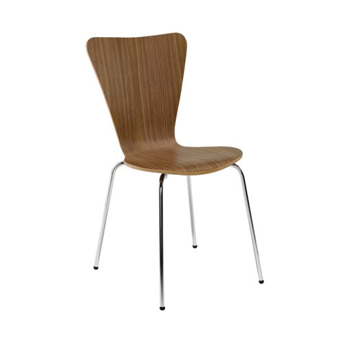 Arista Walnut/Chrome Wooden Bistro Chair (Pack of 4) KF72578