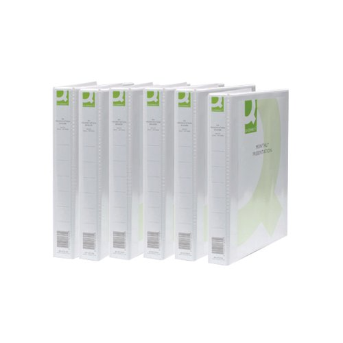 Q-Connect Presentation 25mm 2D Ring Binder A4 White (Pack of 6) KF72645