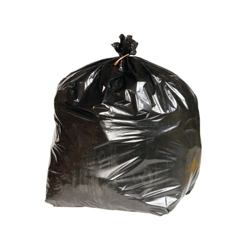 2Work Heavy Duty Refuse Sack Black (Pack of 200) KF73376