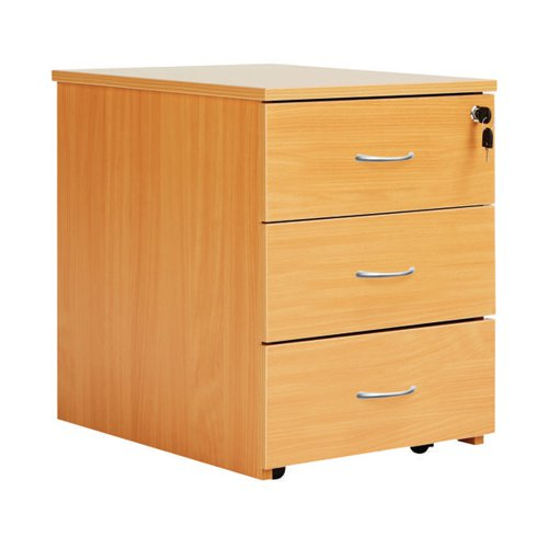 Serrion Bavarian Beech 3 Drawer Mobile Pedestal KF73518