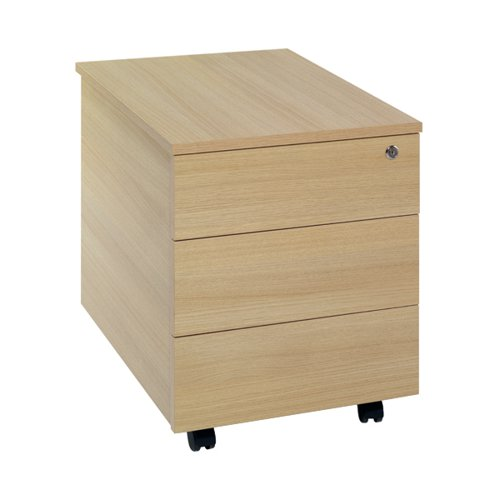 Serrion Ferrera Oak 3 Drawer Mobile Pedestal KF73519