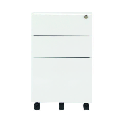 Jemini White Mobile Steel 3 Drawer Pedestal KF74156