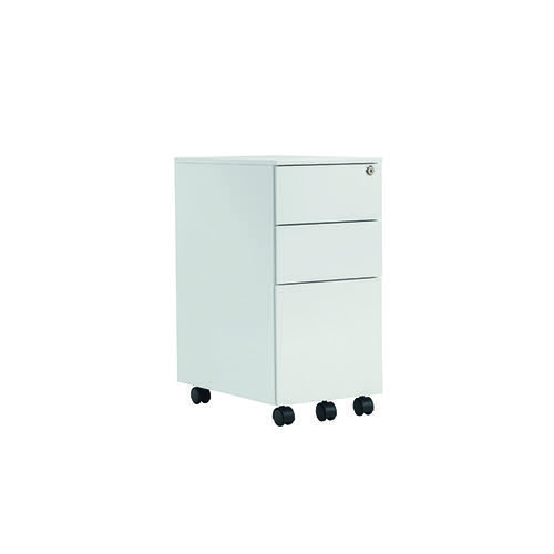 Jemini White Mobile Steel 3 Drawer Pedestal Slimline KF74158