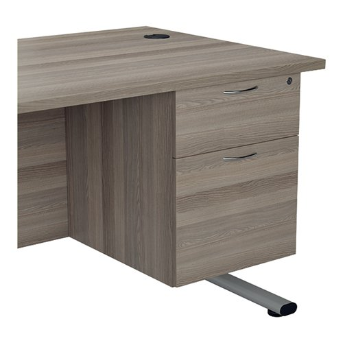 Jemini 655 Fixed Pedestal 2 Drawer Grey Oak KF74413