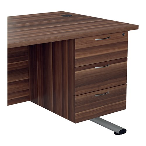 Jemini 655 Fixed Pedestal 3 Drawer Dark Walnut KF74418