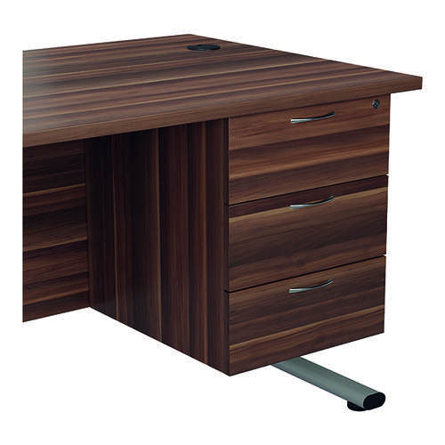 Jemini 655 Fixed Pedestal 3 Drawer Dark Walnut KF74417