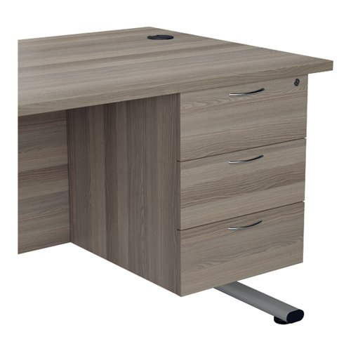 Jemini 655 Fixed Pedestal 3 Drawer Grey Oak KF74419