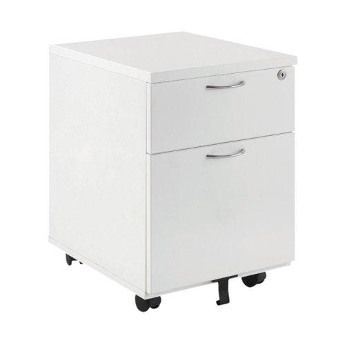 First 2 Drawer Mobile Pedestal 404x500x595mm White KF74765