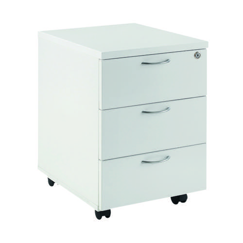 First Mobile Under Desk Pedestal 3 Door White KF74768
