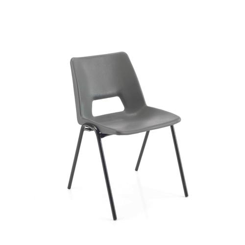 Jemini Polypropylene Stacking Chair 430mm Charcoal KF74994