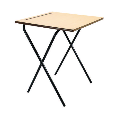 Titan Folding Exam Desk MDF Beech (W600 x D600 x H720mm) KF78654