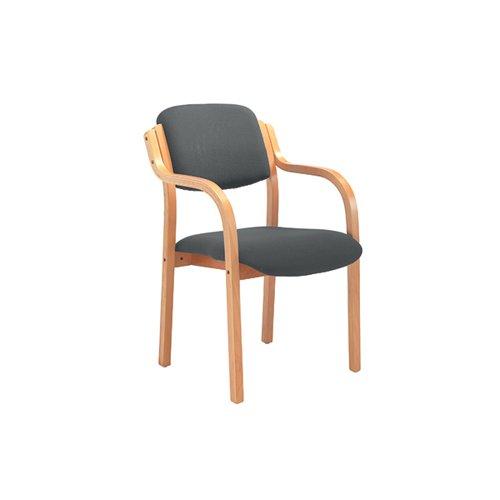 Jemini Wood Frame Arm Chair 700x700x850mm Charcoal KF78681