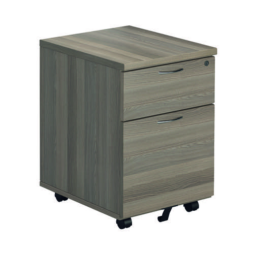Jemini Grey Oak 2 Drawer Mobile Pedestal (Dimensions: W404 x D500 x H595mm) KF78943