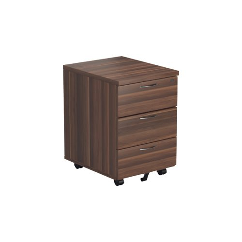Jemini Walnut 3 Drawer Mobile Pedestal KF78944