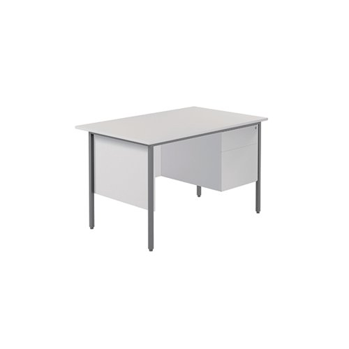 Serrion 4 Leg Desk 1200mm with 2 Drawer Pedestal White KF800037