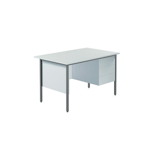Serrion 4 Leg Desk 1200mm with 3 Drawer Pedestal White KF800043