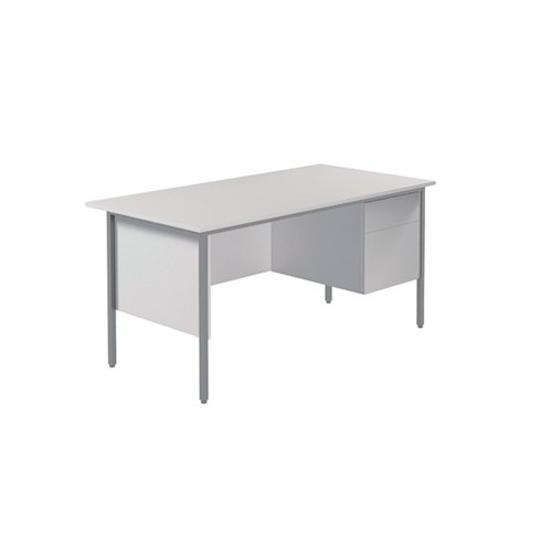 Serrion 4 Leg Desk 1500mm with 2 Drawer Pedestal White KF800059