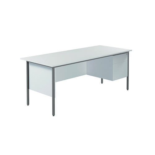 Serrion 4 Leg Desk 1800mm with 2 Drawer Pedestal White KF800065